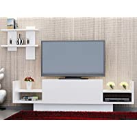 LaModaHome Tv Stand Unit White Coloured Tv Unit Stylish Design Simple Parted Stand Storage Multi Function Organize House Decor Desk Unit Furniture for Home, Office, Living room