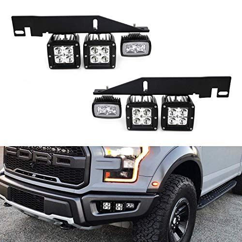 iJDMTOY LED Pod Light Fog Lamp Kit For 2017-up Ford Raptor, Includes (4) 20W (2) 10W CREE LED Cubes, Foglight Location Mounting Brackets & On/Off Switch Wiring Kit