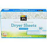 365 Everyday Value, Fabric Softening Dryer Sheets, Unscented, 80 Count
