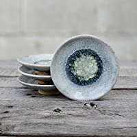 GEODE RING DISH: Individual Geode Ring Dish in ASH Fused Glass Dish, Trinket Dish, Soap Dish, Crackle Glass, Candle Holder, Dock 6 Pottery, Kerry Brooks Pottery