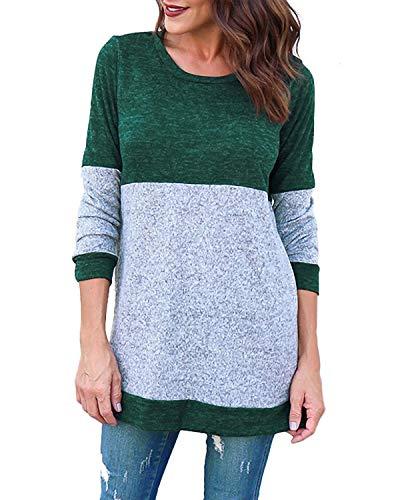dames Kyerivs casual groen voor met shirt shirts brei lange Blouse tops mouwen dames rqOrwCY
