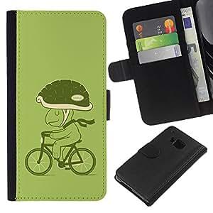 - ECO ART BICYCLE HELMET TURTLE LIFESTYLE GREEN - - Prima caja de la PU billetera de cuero con ranuras para tarjetas, efectivo desmontable correa para l Funny House FOR HTC One M9