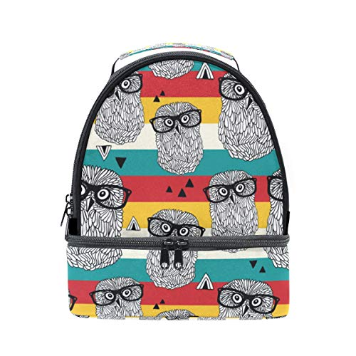Dancing Owls On Disco Party Colorful Double Lunch Tote Bag for Women Men and Kids, Soft Leak Proof Cooler Lunch Box with Adjustable Shoulder Strap Zipper for Work Picnic Camping