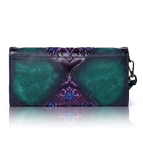 Evening Cross Purple Party Clutch Handbag Purse Designer APHISONUK Embossed Soft Leather Ladies Wallet Green Body wYXnqvOB