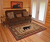 Rustic Lodge Bear Red 2x8 Area Rug, 2'2x7'7