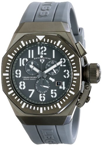 Swiss Legend Men's 10540-GM-014-WA Trimix Diver Chronograph Grey Dial Grey Silicone Watch
