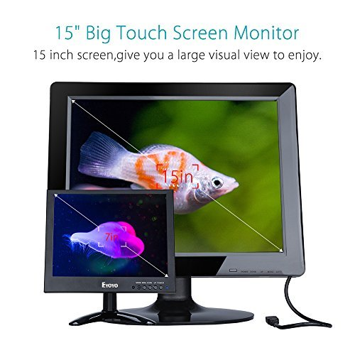EYOYO 15 Inch Touch Screen HDMI Monitor HD 1024x768 Display Support BNC VGA USB AV Input Built-in Speakers For PC CCTV DVR Security Camera