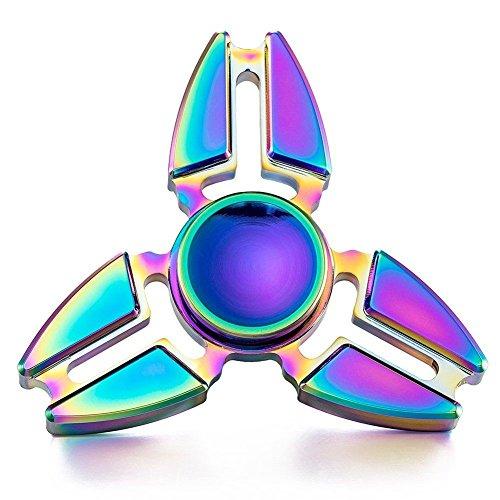 Fidget Spinner, Rainbow Metal Hand Spinner Figit Spinner Aluminum Tri Finger Spinner EDC Spinner Noza Tec