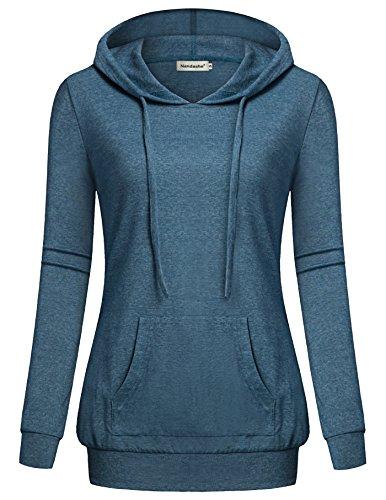 Nandashe Womens Tops, Crew Neck Long Sleeve Kangaroo Pocket Hoodies Sweaters by Nandashe