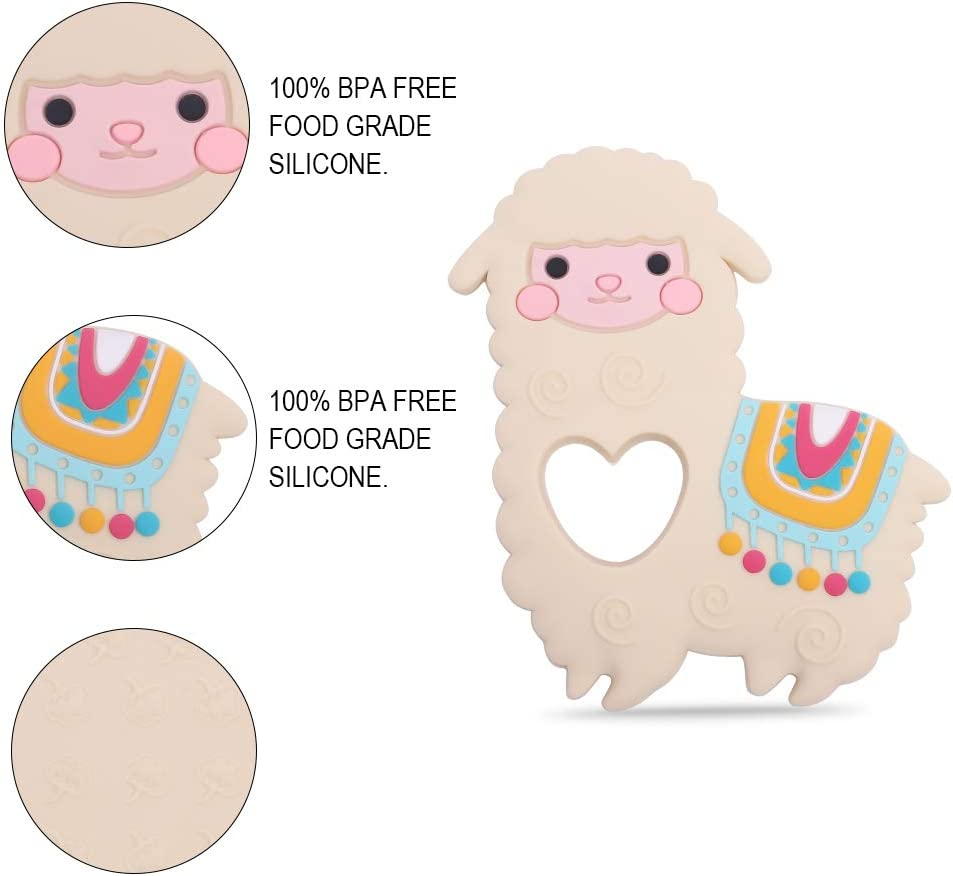 Baby Llama Silicone Teether,Sensory Chew Toys,BPA Free Soft and Effective Infant Teething Pain Relief Toys,Freezer Safe,Food Grade Silicone,Best Shower Gift for Boys and Girls White