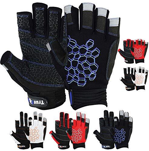 MRX BOXING & FITNESS Sailing Gloves Sticky Palm Gripy Glove Yachting Kayak Dinghy Fishing Short Finger Multi Colors (Black/Blue, L)