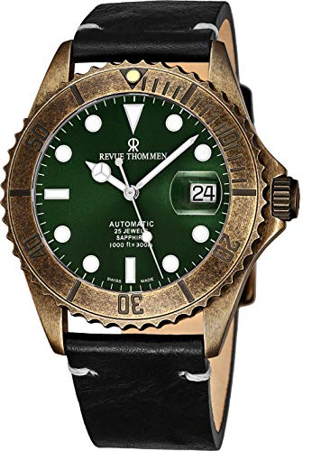 Revue Thommen Diver Mens Gun Metal Automatic Dive Watch - 42mm Dark Green Face with Luminous Hands, Magnified Date, Sapphire Crystal - Black Leather Band Swiss Made Waterproof Diving Watch 17571.2583