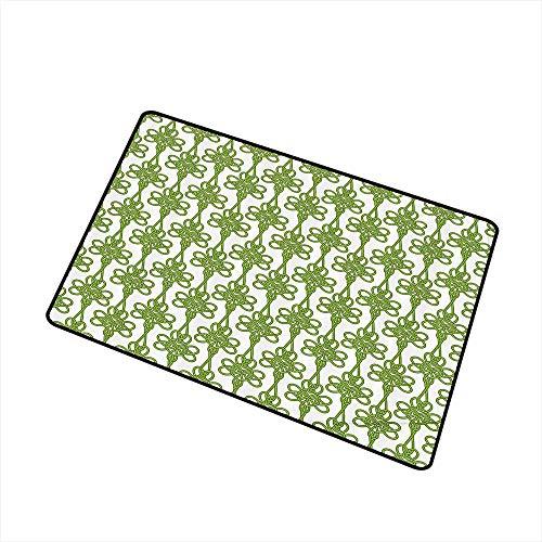 Axbkl Interior Door mat Irish Entangled Clover Leaves Twigs Celtic Pattern Botanical Filigree Inspired Retro Tile W35 xL47 Easy to Clean Green Cream (Sand Filigree Dollar)
