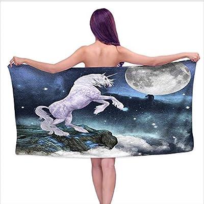 Bath Towel?Creature on Up Cliffs Rocks in Full Moon Light Sky Fantasy Lilac,Good Ideal for The Kid's Bathroom, a Guest Bathroom
