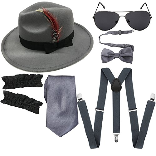 1920s Mens Manhattan Trilby Fedora Hat, Garters Armbands,Y-Back Suspenders & Pre Tied Bowtie, Gangster Sunglass (Light Grey)]()