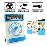 fan with solar panel - Ansee Solar Fan Camping Fan Cooling Table Fans 3 in 1 Multi-Function with Eye-Care LED Table Lamp Flashlight Torch Solar Panel Adaptor Plug for Home Use Camping (Blue)
