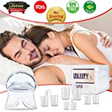 Anti Snoring Devices Tongue, 4 Set Snore Stopper Nose Vents Nasal Dilators Stop Snoring Solution Snoring Mouthpiece Sleep Aid Device Snore Reduction Silicone Snoring Tongue Retainer for Men