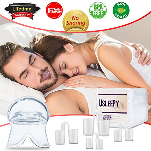 Anti Snoring Devices Tongue, 4 Set Snore Stopper Nose Vents Nasal Dilators Stop Snoring Solution Snoring Mouthpiece Sleep Aid Device Silicone Tongue Retainer for Men Women (Stop snoring Devices) by Usleepy (Image #7)