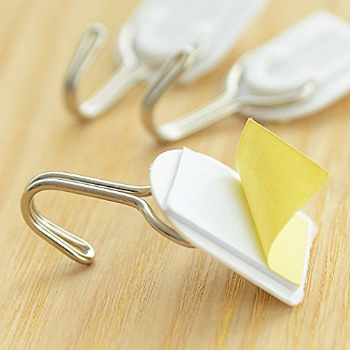 UXTIS Set of 6 Self Adhesive White Wall Hanger Sticky Door Hooks Home Aid