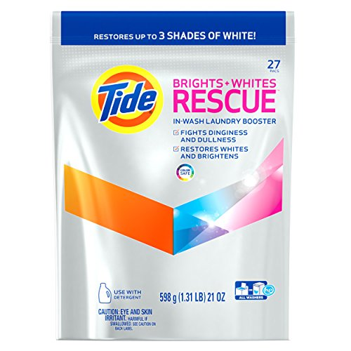 Tide Brights and Whites Rescue Laundry Pacs In-Wash Detergent Booster, 27 Count (Wash Laundry Detergent)