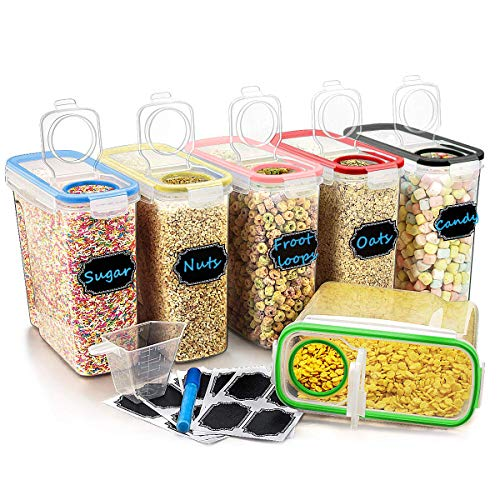 Plastic Cereal Containers Set,Yododo Airtight Dry Food Storage Containers 6 pcs Large Kitchen Storage Containers with Colorful Lids for Sugar,Flour,Snack,Baking Supplies,BPA Free-16.9 Cups/4L/136.7oz