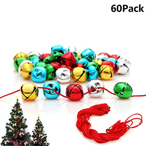 - Jingle Bells, 1 Inch Craft Bells Bulk DIY Bells Colorful Christmas Bells for Craft Festival Decoration Home Decoration, 60pcs(With Red Cord And Bowknots)