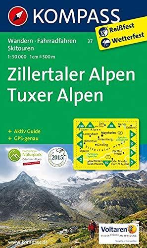 Zillertaler Alpen - Tuxer Alpen: Wanderkarte mit Aktiv Guide, Radwegen und Skitouren. GPS-genau. 1:50000 (KOMPASS-Wanderkarten, Band 37) Landkarte – Folded Map, 1. Juli 2015 KOMPASS-Karten GmbH 3850265188 Europa physisch