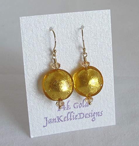 Beautiful Venetian Gold Foil Murano Glass 14k Gold French Hook Earrings