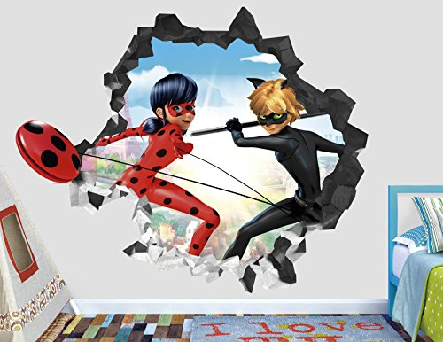 Miraculous Cat Noir Wall Decal Smashed 3D Sticker Vinyl Decor Mural Kids Animated Art - Broken Wall - 3D Designs - AH100 Small (Wide 22