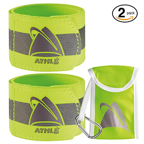 Athlé Reflective Running Gear Safety Bands – Neon Yellow Arm, Wrist Or Ankle Band Reflectors for Safe Running, Jogging, Walking, Biking, Hiking & Backpacking … (2 Pack)