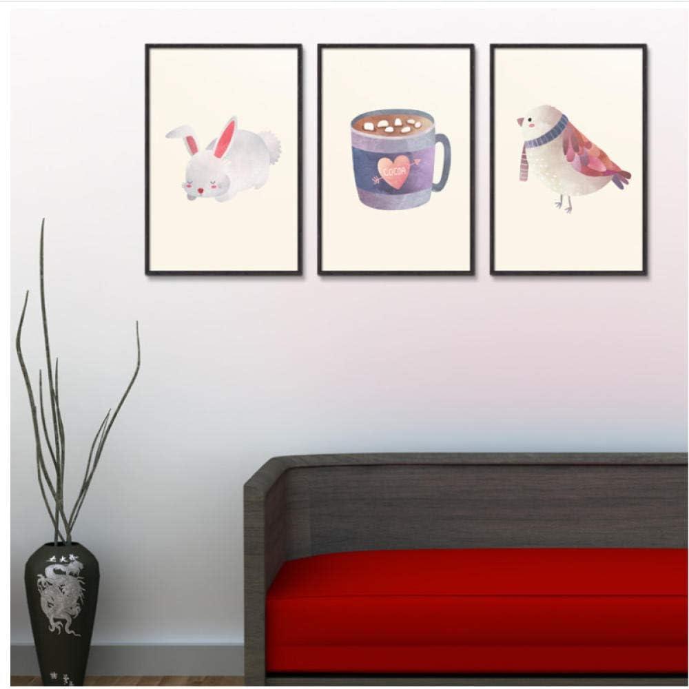 HD Impresiones Imágenes Pintura Arte de la Pared Lienzo Conejo Pájaro Y Copa Estilo nórdico Decoración para niños Cartel Chica Habitación-40x60cmx3pcs-Sin Marco