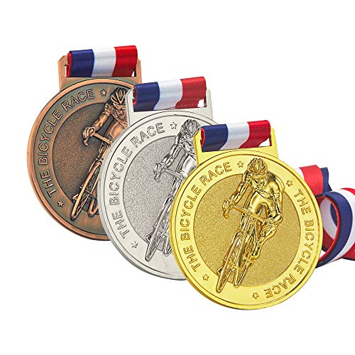 JUN MA Bike Medals, Cycling Medals, Gold Silver Bronze Medals for Bicycle, Well-Crafted Bike Race Medals Set, Mountain Bike Medals with Ribbons for Adult/Youth, Antique Finish Shiny Design
