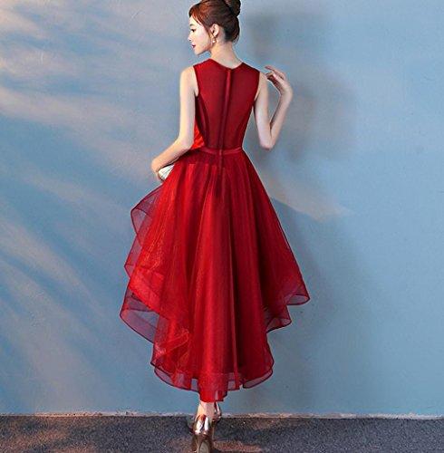 Mujeres Elegante Gasa Trasero Largo Corto Delantero Vestido Sin Mangas Formal Noche Vestidos de Fiesta Red