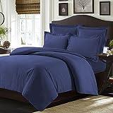Tribeca Living VALENDUVETTWDB Valencia Solid Duvet Cover Set, Twin Dark Blue,Moonlight Blue,Twin