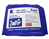 Waterproof Reinforced Tarpaulin Medium Duty 5mils Blue 16X20 Feet Star Plover Durable Multi-Purpose Tarps For Roof Cover