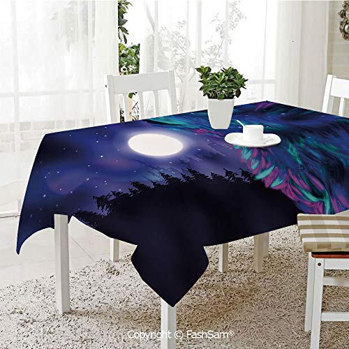 AmaUncle 3D Print Table Cloths Cover Northern Imagery with Aurora Borealis Wolf Spirit Magical Forest Starry Night Decorative Table Protectors for Family Dinners (W55 xL72)