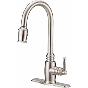 Danze D455557SS Opulence Single Handle Pull-Down Kitchen Faucet with SnapBack Retraction, Stainless Steel