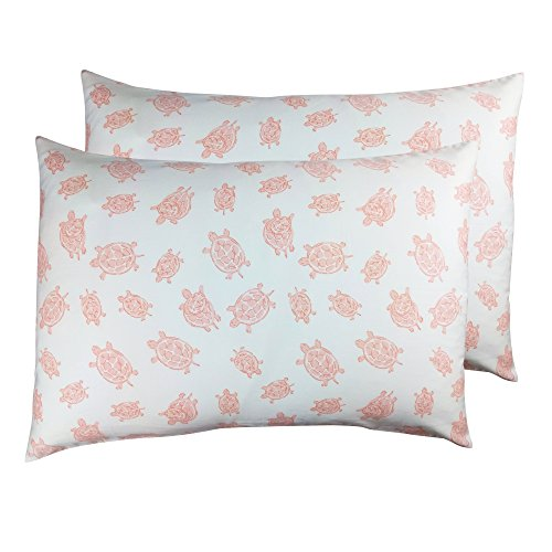 2 Toddler or Travel Pillowcases in Organic Cotton to Fit 13 x 18 and 14 x 19 Pillow, Turtle Print (Pink) ()
