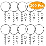 Paxcoo-100Pcs-Keychain-Rings-with-Chain-and-100-Pcs-Screw-Eye-Pins-Bulk-for-Crafts