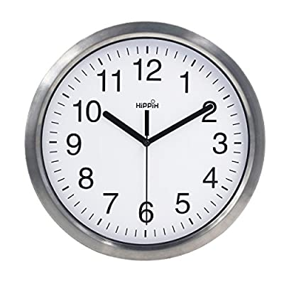 Hippih 12?Inch Silent Non-ticking Metal Wall Clock Glass Cover