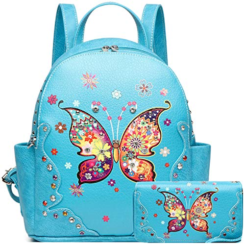 Spring Butterfly Flower Fashion Backpack Women Western Style Biker Purse Studded Shoulder Bag Wallet Set (Turq -