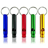 FEDULK 10pc Hiking Camping Survival Aluminum Whistle with Key Chain, Emergency Whistles