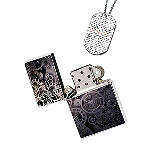 New Vibe Silver Flip Top Lighter - Steampunk Gear Wheels by Space Case by New Vibe