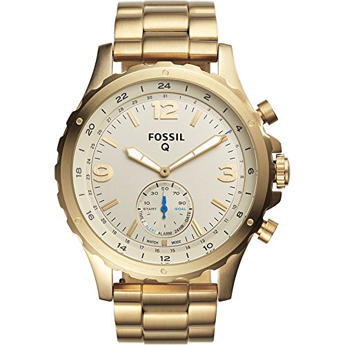 Fossil Q Hybrid Smartwatch Men's Nate Gold-Tone Stainless Steel FTW1142 (Fossil 50mm Mens Watch)