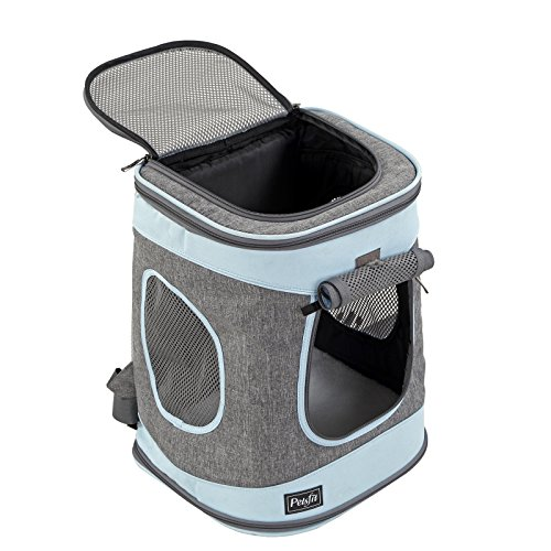 Petsfit Comfort Dogs Carriers/Backpack,Hold Pets up to 15 LBS,Go for Walk, Hiking and Cycling (Grey and Blue) 17''H x13''L x11''D by Petsfit