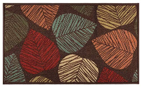 """RugStylesOnline Rubber Back Collection Doormat Mat with Slip Skid Resistant Rubber Backing for Kitchen Laundry Entry (Brown Multi Leaves, 18""""x30"""" Mat)"""