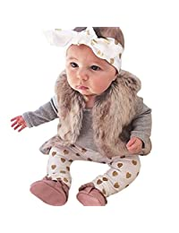 1Set Newborn Baby Boys Girls Deer Tops Romper Pants Hat 3PCS Outfits Clothes