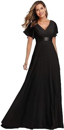 Amazon Com 2021 Vestido De Noche Largo De Gasa Con Cuello En V Clothing