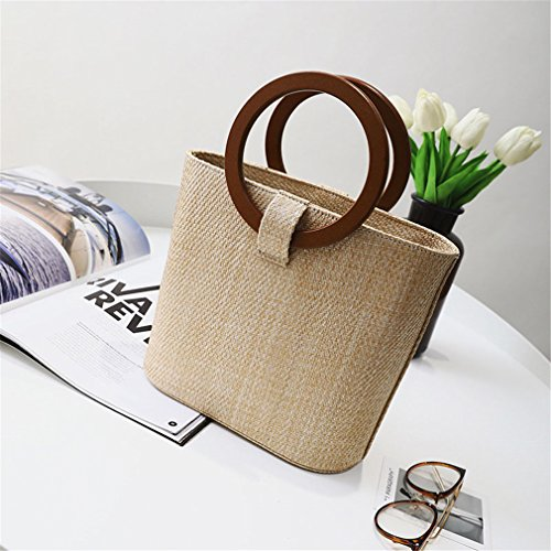 Wooden Beach Autumn Bag Handle Totes Winter With Bag Bucket Khaki Straw Bags fxrzHnAf