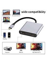 Adaptador USB C a HDMI doble 4K 60 hz, Topoint tipo C a HDMI convertidor compatible MacBook   MacBook Pro 2016 2017 2018 Samsung Galaxy S9   S9 +   S8   S8 +, Surface Book 2